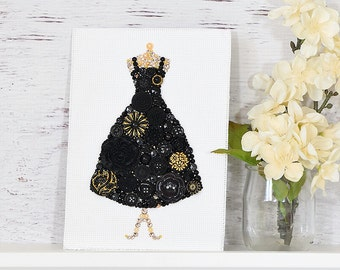 Custom Black Dress Button Art - Black Dress Wall Hanging - Black Dress Fashion Art - Dressing Room Decor - Black Dress Wall Decor