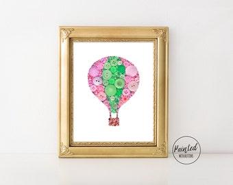 Button Art PRINT Hot Air Balloon - Pink and Green Balloon Wall Art - Nursery Wall Art Decor - Pink Balloon Nursery Art Print