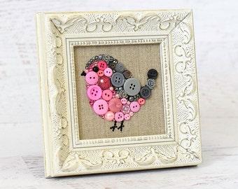 Made To Order Baby Bird Button Art - Small Bird Wall Hanging - Framed Nursery Decor - Kids Room Art - Baby Shower Gift - Hostess Gift
