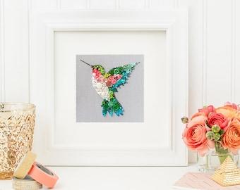 Custom Hummingbird Wall Art - Made To Order Button Picture - Hummingbird Wall Hanging - Nursery Decor - Kids' Room Decor - Bird Wall Art