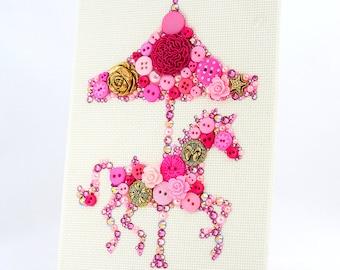 Custom Button Art Carousel Horse - Girl's Room Decor - Pink Nursery Decor - Carousel Horse Wall Art - Carnival Home Decor - Baby Shower Gift