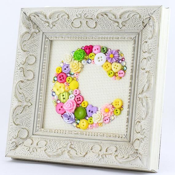 Custom Monogram Letter Framed Multicolor Button Letter Art | Etsy