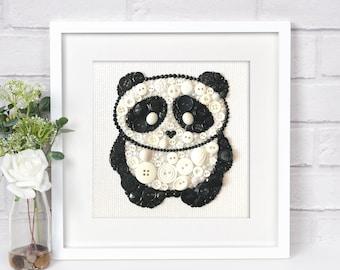 MADE TO ORDER Panda Button Art, Nursery Decor, Panda Bear Wall Hanging, Button Panda Wall Decor, Panda Wall Art, Kids Room Decor, 6x6