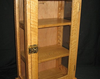 Handcrafted Oak Table Top Display Cabinet