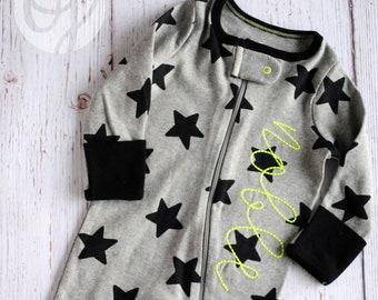 Personalized Newborn Footed Sleeper - Name Zippered Infant Sleeper - Gray  and Black Star - Personalized Baby - NEW 7a6462e90