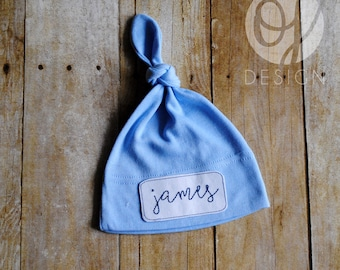 Personalized Infant Blue Knot Hat - Personalized Name Baby Hat - Infant  Hospital Hat - Baby Boy - Patched Knot Hat - Classic Baby 9e90cb043833