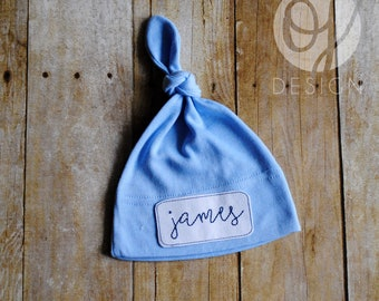 07af5d27f51 Personalized Infant Blue Knot Hat - Personalized Name Baby Hat - Infant  Hospital Hat - Baby Boy - Patched Knot Hat - Classic Baby