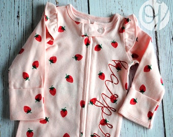 Personalized Strawberry Sleeper - Name Zippered Infant Sleeper - Pink and  Red - Personalized Baby - NEW 0cf11c7b8