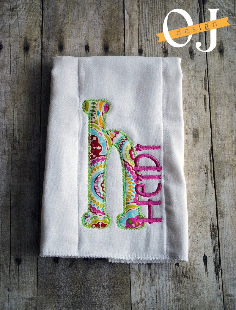Personalized Name Girl Pink and Green Bright Color Infant Burp Cloth and Bib Set
