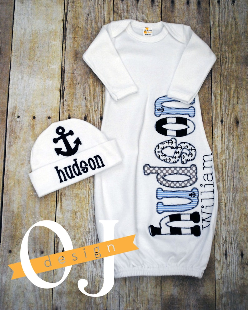 74ac7bb58c58 Personalized Baby Boy Nautical Newborn Hat and Gown Name