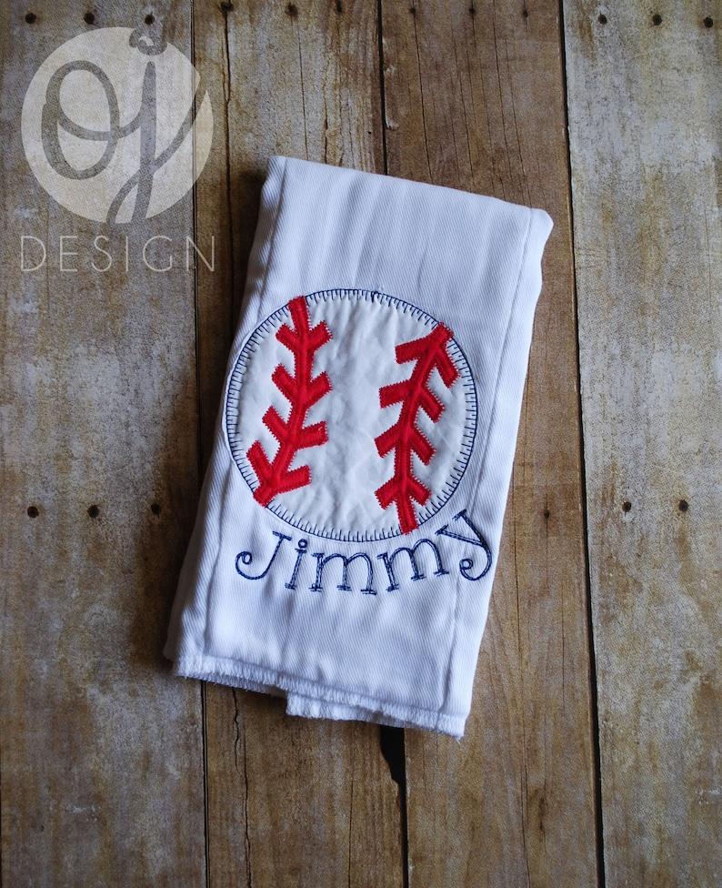 Baseball Personalized Baby Bib and Burp Cloth Monogram Bib Infant Burp Cloth and Bib Red and Navy Baseball Theme Newborn