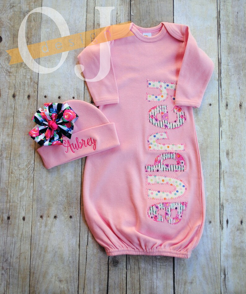 17c9048141e5f Personalized Infant Pink Gown Pink Floral and Stripe | Etsy