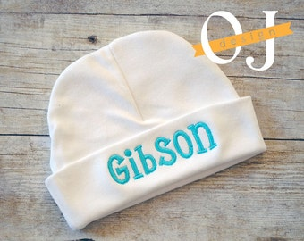 Personalized Name - embroidered - Newborn Hat - Boy Newborn Infant Hat - Teal - Aqua -Baby Boy