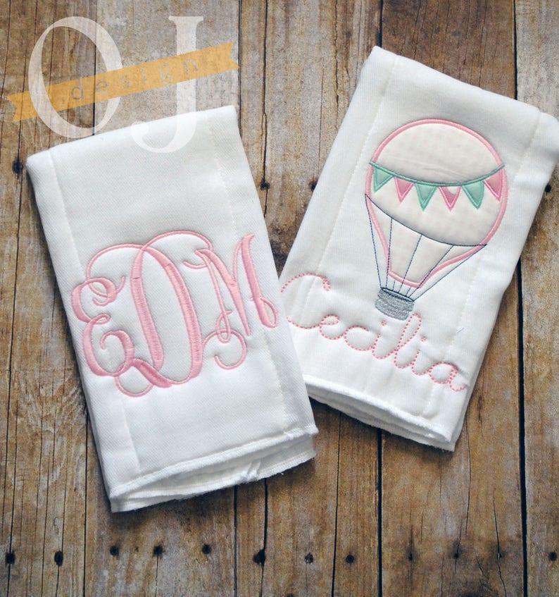 Monogram Burp Cloth Mint and Light Pink Personalized Burp Cloth Set Travel Nursery Baby Girl Hot Air Balloon Burp Cloth
