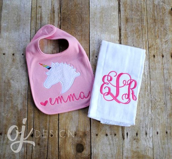 0fe47f471 Personalized Burp Cloth and Bib Set Unicorn Rainbow Baby
