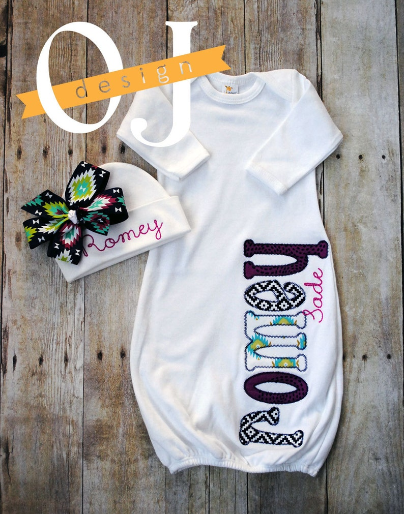 Infant Gown Girl Personalized Name Girl Magenta and Navy Aztec Newborn Newborn Hospital Set Baby Shower Gift Newborn Hat with Bow