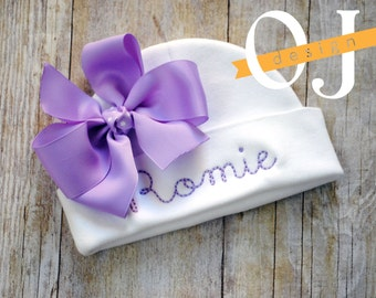 Personalized Name Baby Hat - Infant Hospital Hat - embroidered - Newborn Hat - Newborn Hat with Bow - Girl - Light Purple - Lilac
