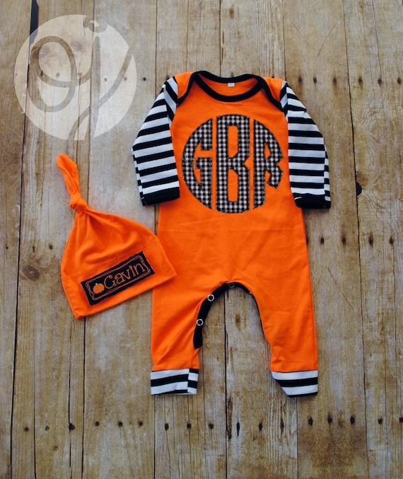 personalized halloween infant sleeper monogram sleeper