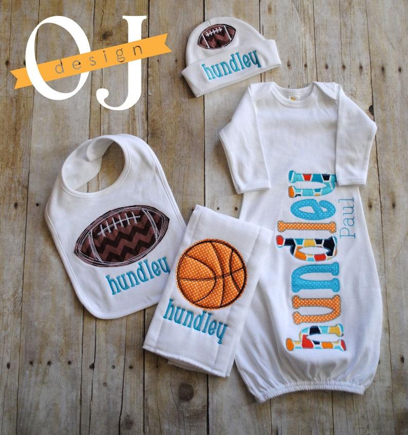Burp Cloth Football and Basketball Personalized Baby Boy Sports Newborn Gown Gift Set Infant Gown Onesie Newborn Hat Bib