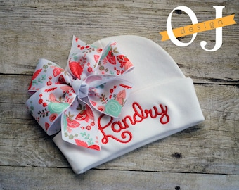 Personalized Name Baby Newborn Hat - Infant Hospital Hat - embroidered - Newborn Hat - Newborn Hat with Coral - Coral and Gold Bow - Girl