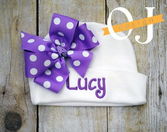Personalized Name Baby Hat - Infant Hospital Hat - embroidered - Newborn Hat - Newborn Hat with Bow - Girl - Purple
