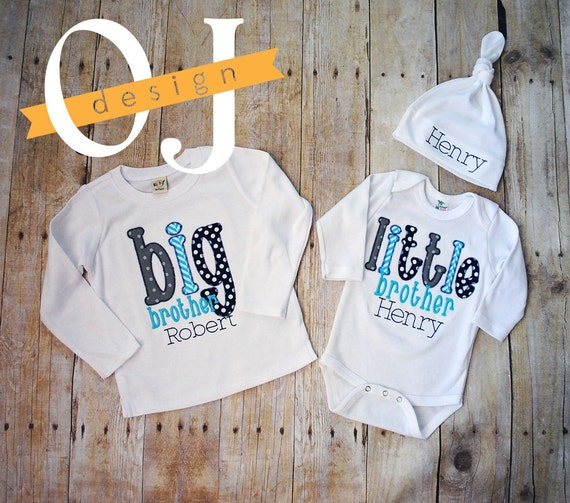 6a8fe30e12 Big Brother Little Brother Personalized Baby Boy Newborn Gift