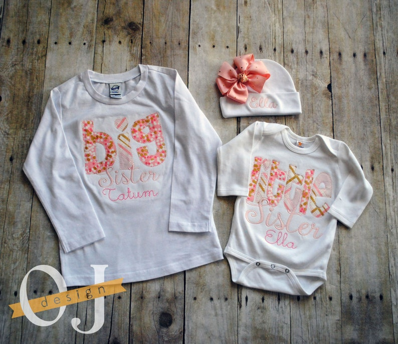 Girls Toddlers Personalised Rose Gold Big /& Little Sister T-Shirts /& Bodysuits