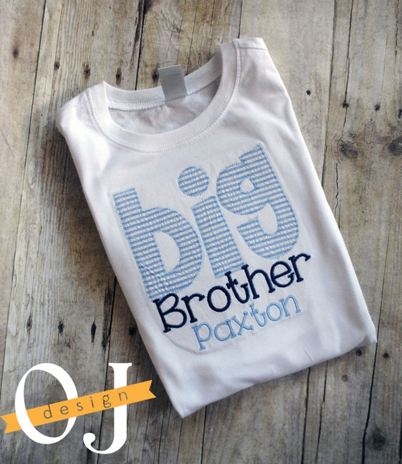 Navy Blue and Light Blue Seersucker Sibling Set Big Brother Shirt Brother Personalized Sleeper Personalized Brother Sibling Set