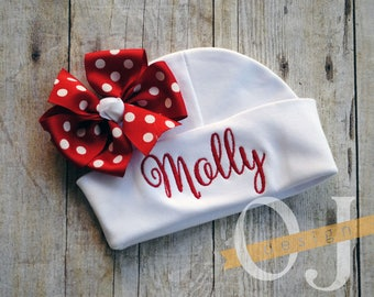 Personalized Name Newborn Hat - Infant Hospital Hat - embroidered - Newborn Hat - Newborn Hat with Bow - Girl - Red