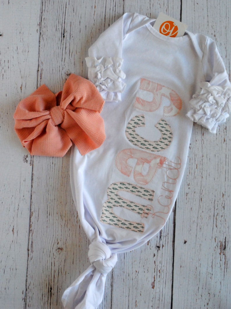 Personalized Baby Girl Gift Set Blush Pink and Cactus Themed Bow Headband Ruffled Knot Gown Personalized Burp Cloths