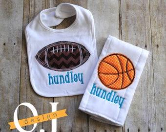 Personalized  Baby Bib and Burp Cloth - Sports - Football - Basketball - Newborn - Infant Burp Cloth and Bib - Baby Shower Gift