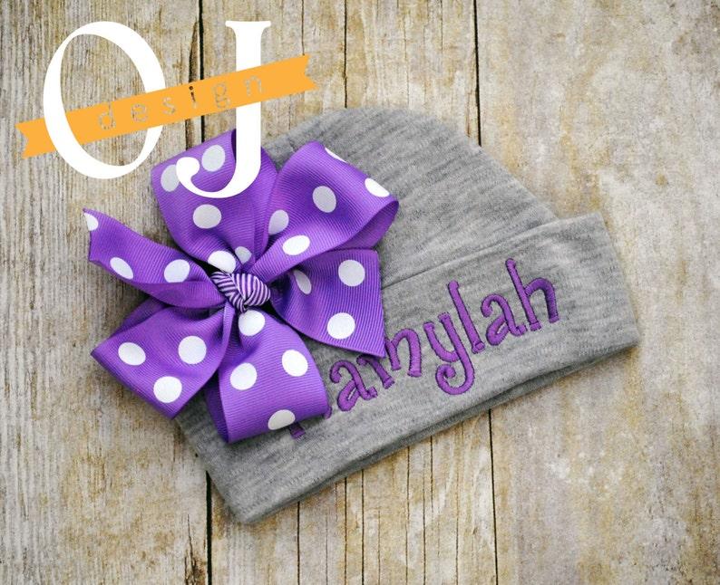 Newborn Hat Gray Purple Lamb Personalized Baby Girl Gift Set Bib Newborn Gift Set Infant Gown Baby Shower Burp Cloth