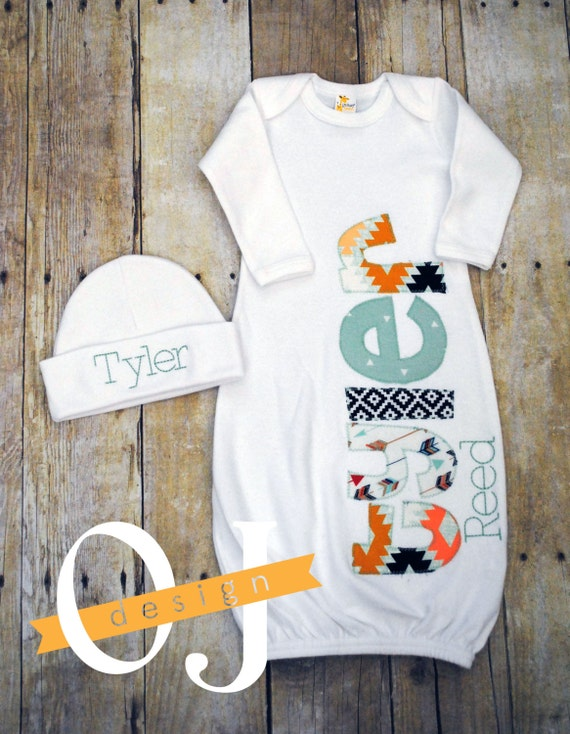 Baby Boy Gown Monogrammed Personalized with Aztec Design