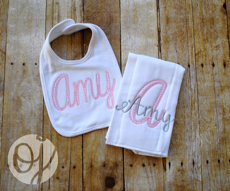 Hat New Baby Personalized Baby Girl Purple Rose Bib And Burp Cloth Baby Shower Gift