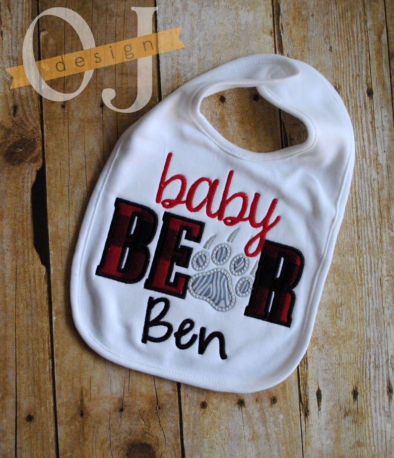 Baby Bear Personalized  Baby Bib and Burp Cloth Infant Burp Cloth and Bib Newborn Buffalo Check Plaid