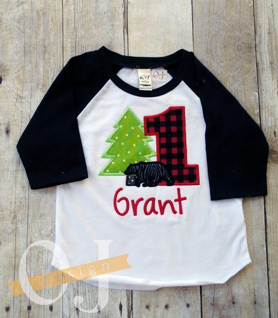 Personalized First Birthday Shirt Custom Made Woodland