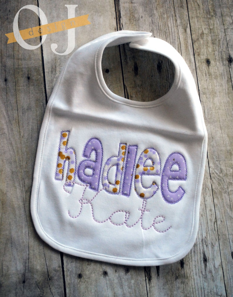 Light Purple and Gold Shabby Chic Personalized Burp Cloth and Bib Set Baby Shower Baby Girl Newborn Gift Personalized Newborn