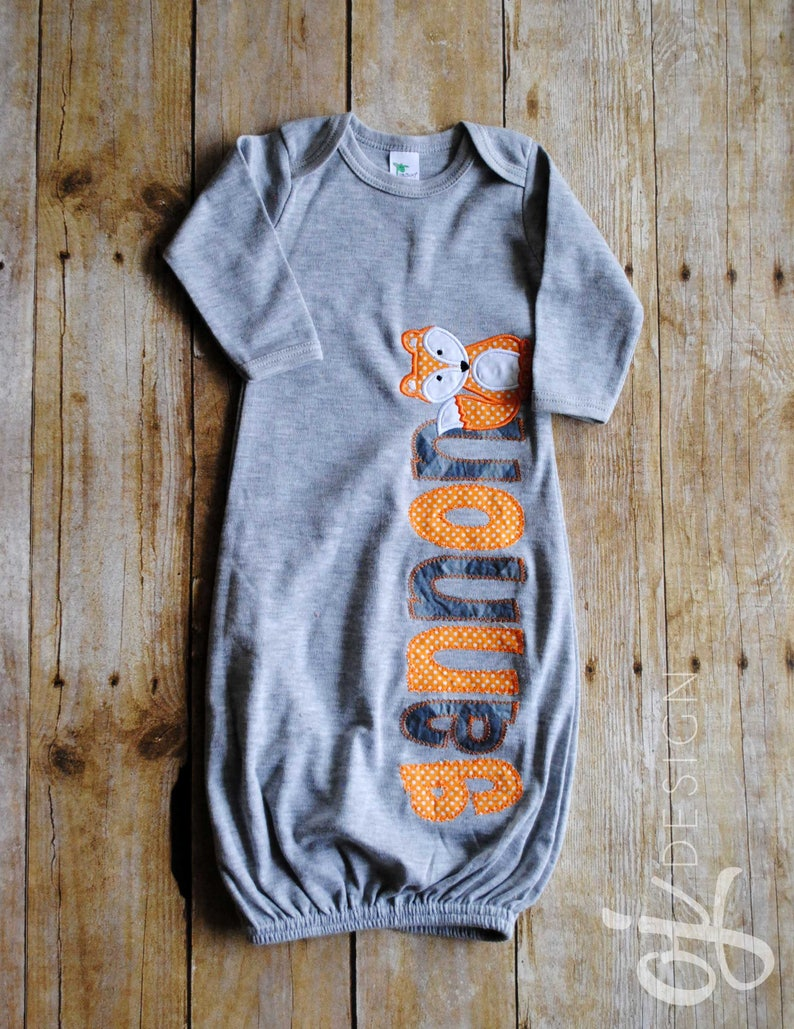 b85204f73f9b1 Personalized Name Gown Baby Boy Orange and Gray Fox | Etsy