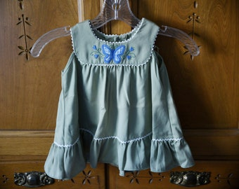 106136a81 2T - Vintage Peaches and Cream Girls Dress - Butterfly