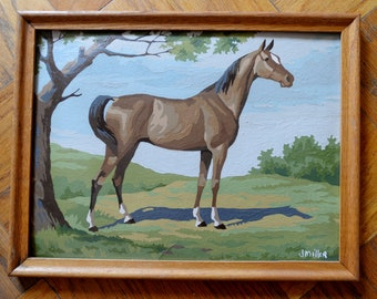 "Paint by Numbers - Horse- 1963 by J Miller 17"" by 13"""