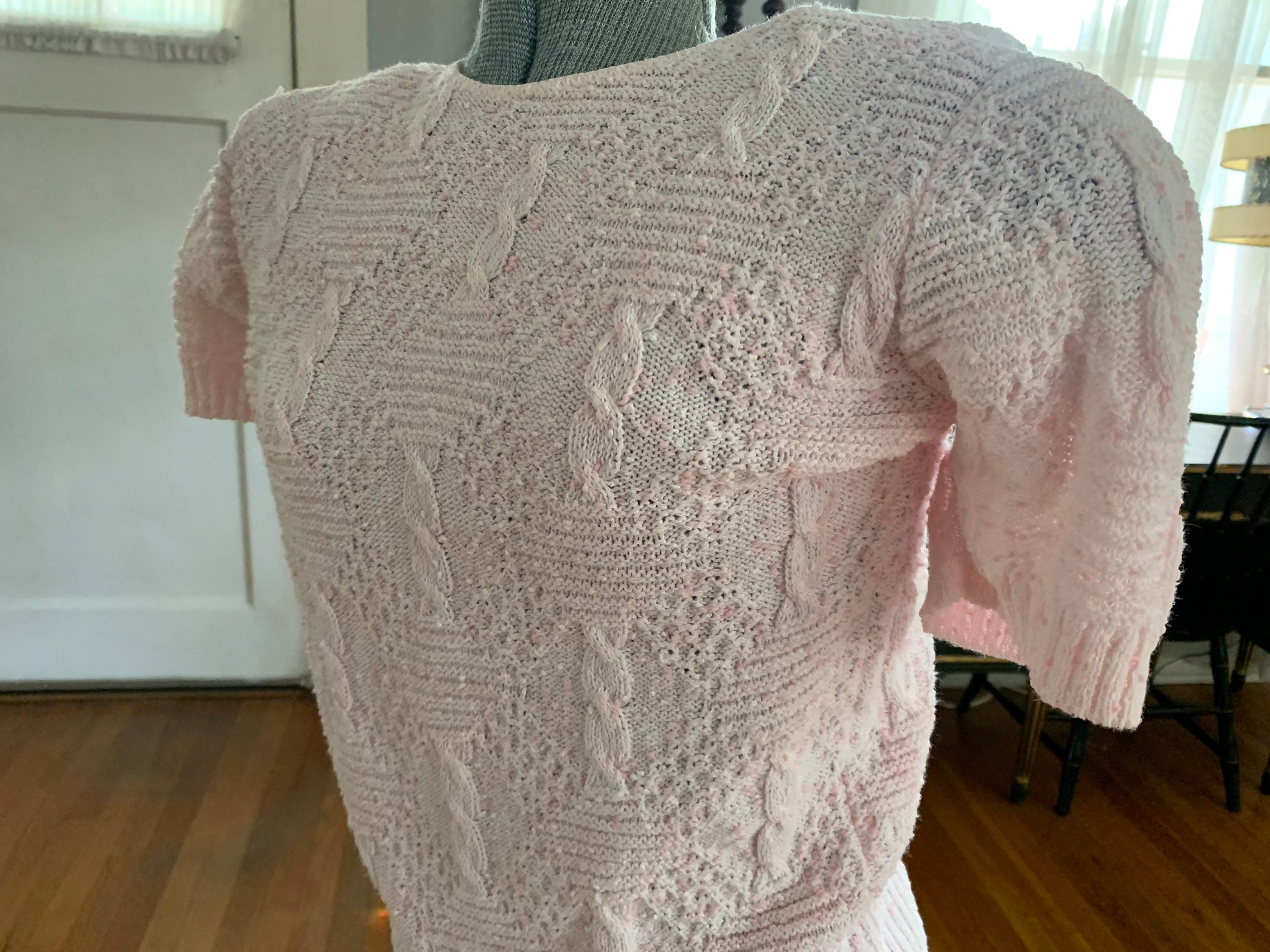 80s Sweatshirts, Sweaters, Vests | Women Small - 1980s Vintage Pink Acrylic Sweater $24.50 AT vintagedancer.com