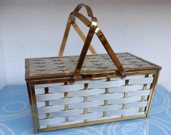 Vintage Saks Fifth Avenue Metal Basket Weave Box