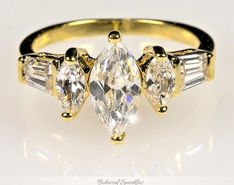 Gold Tone CZ Wire Ring Large Marquee Cubic Zirconia Size 5.5 Mock Diamond Ring # 1083
