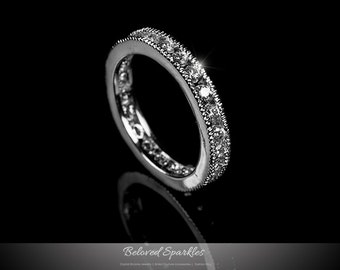 SEVENHOPE Round Cubic Zirconia Eternity Ring Wedding Band Wedding Engagement Ring for Women Silver Color
