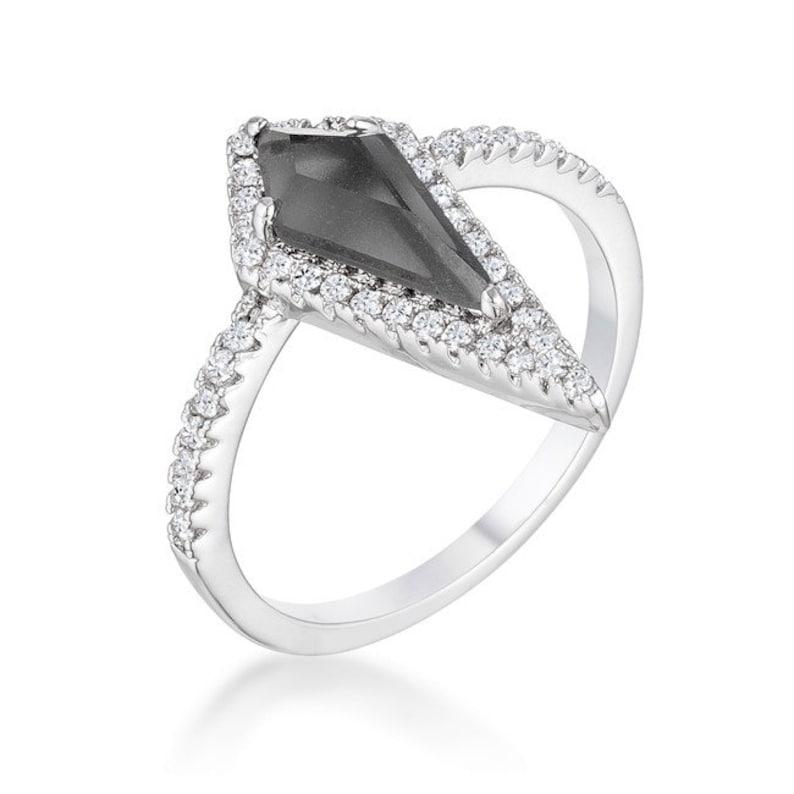 Philis Trendy  Prism Smokey Topaz 1.4ct CZ Silvertone Ring-Black Onyx Cubic Zirconia Rose Goldtone Comtemporary Cocktail Ring-BSJFR108570R