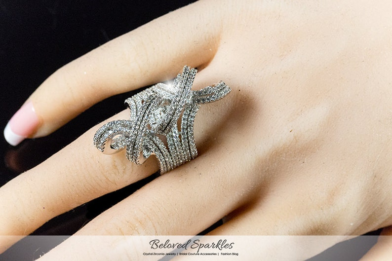 Micropave CZ Eternity Ring 10 Carat Micropave Knot CZ Celebrity Cocktail Statement Fashion Cubic Zirconia Anniversary Promise Diamond Ring