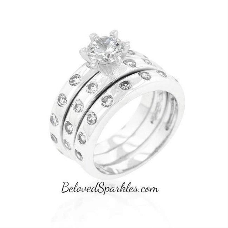 Lorenza 1ct Round Bezel Set Cubic Zirconia 4.5ct Engagement and Wedding Ring Set-Round CZ Solitaire Bezel Set Triple Bridal Anniversary Ring