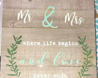 White washed Mr & Mrs sign