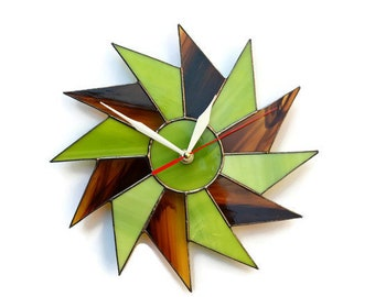Mid Century Modern Wall Clock 10 / 14 Inch. Starburst Clock, Stained Glass Clock. Chartreuse Green Unusual Wall Clock for Home or Office