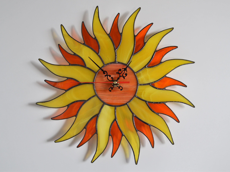 Boho Sunburst Stained Glass Sun Wall Clock Yellow Orange 12 | Etsy